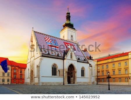 Techo iglesia Zagreb famoso colorido Croacia Foto stock © smuki