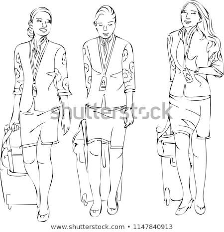 Sketches of the air hostess Stock photo © bluering