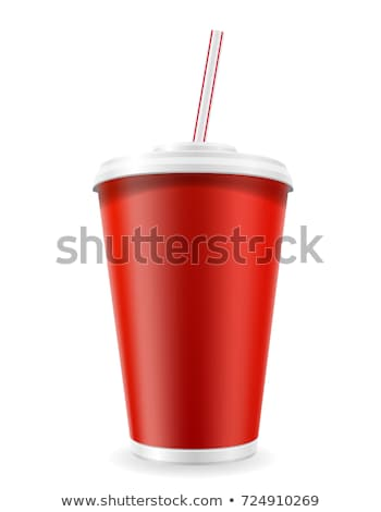 paper fast food cup with red tube Stock photo © LoopAll