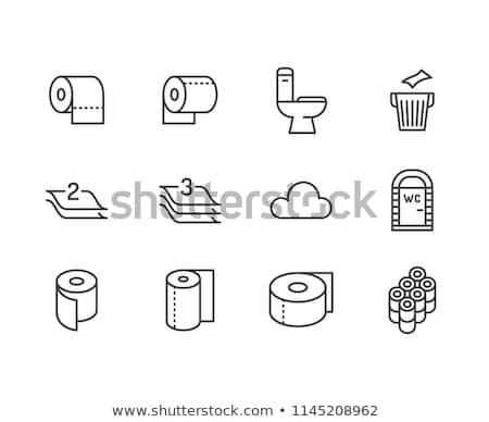Papier hygiénique icône blanc noir chambre salle de bain noir Photo stock © angelp