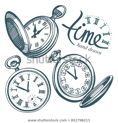 velho · relógio · de · bolso · isolado · perspectiva · branco · mãos - foto stock © berczy04
