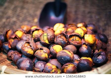 ızgara kestane arka plan sonbahar yemek kahverengi Stok fotoğraf © M-studio