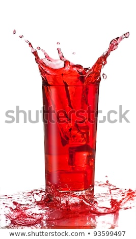 One glass of red fruit juice with ice Stock photo © tish1