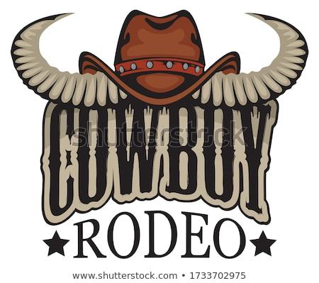 Buffalo Logo Design With Cowboy Hat Stock photo © sdCrea