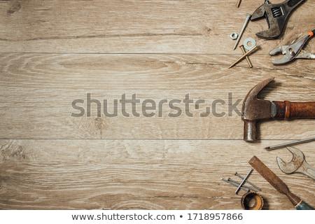 fém · asztal · öreg · szerszámok · felső · kilátás - stock fotó © hamik