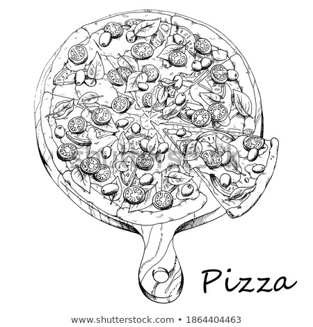Ink Sketch of a Tomato with White Fill Stock photo © cidepix