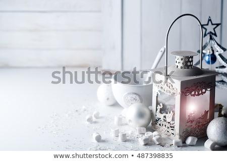 christmas · decoraties · kaarsen · Blauw · achtergrond · vak - stockfoto © yatsenko