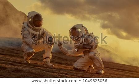 Séta piros bolygó szürreális fiatal srác másik Stock fotó © psychoshadow