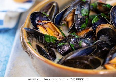 Lezzetli tava sarımsak deniz ürünleri kabukları Stok fotoğraf © Digifoodstock