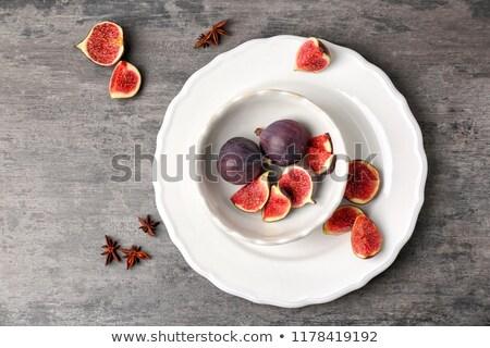 Plaat rijp witte rustiek vruchten achtergrond Stockfoto © Lana_M