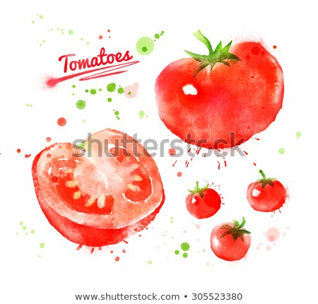 Watercolor illustration of  whole and half tomato Stock photo © Sonya_illustrations