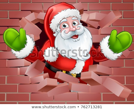 Santa Cartoon Breaking Through a Brick Wall Stock photo © Krisdog
