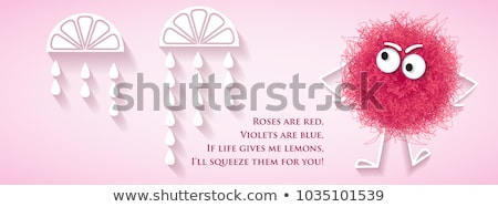 Funny social media  network banner with fluffy pink creature and Stock photo © balasoiu