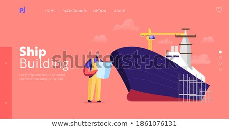 Worker reading in shipping yard Stock photo © IS2
