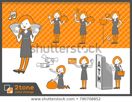 2tone type bob hair dress womanset 11 stock photo © toyotoyo