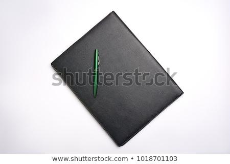 Vuota bianco carta nero pelle cartella Foto d'archivio © AndreyPopov