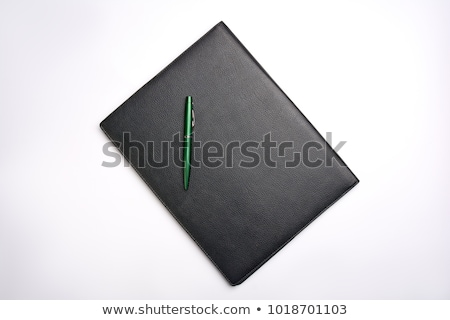 Vazio branco papel preto couro dobrador Foto stock © AndreyPopov
