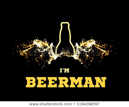 vector illustration of a beerman with beer wings in the form of splashes and a silhouette of a bottl stock photo © m_pavlov
