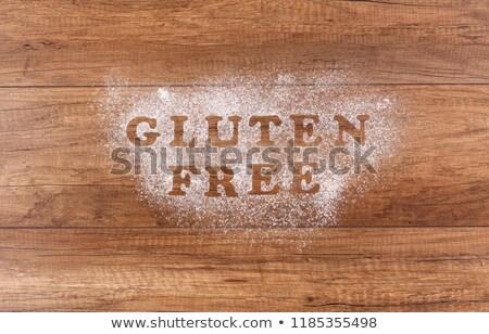 Gluténmentes írott liszt barna asztal felső Stock fotó © lightkeeper