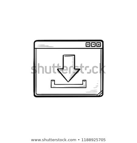 Browser window with download sign hand drawn outline doodle icon. Stock photo © RAStudio
