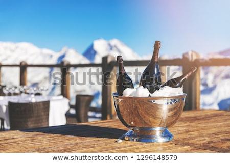 Stok fotoğraf: üç · şişeler · şampanya · kar · kış · tatil