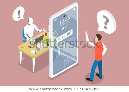 chatbot markting strategy flat isometric vector concept stock photo © tarikvision