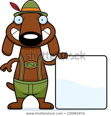 Karikatur Dackel Lederhosen Zeichen Illustration Hund Stock foto © cthoman
