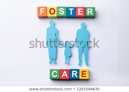 Foster Care Cubic Blocks With Family Figures Stock photo © AndreyPopov