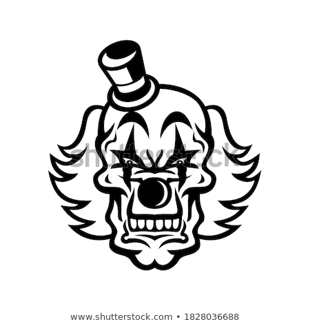 Whiteface Clown Skull Mascot Stock photo © patrimonio