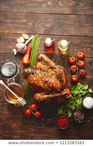 куриные · жареный · меда · продовольствие · обеда · красный - Сток-фото © dash