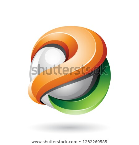 Orange and Green 3d Bold Curvy Letter A Vector Illustration Stock photo © cidepix