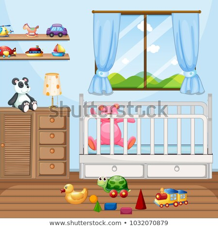 bedroom scene with babycot and many toys stock photo © colematt