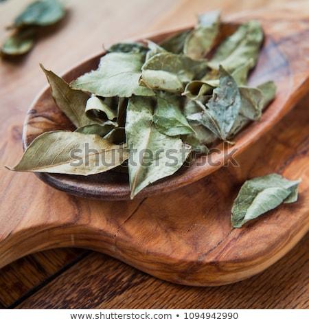 Secas caril folhas culinária indiana temperos isolado Foto stock © szefei