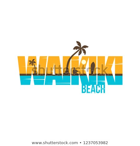 лет · праздников · waikiki · пляж · знак · символ - Сток-фото © vector1st