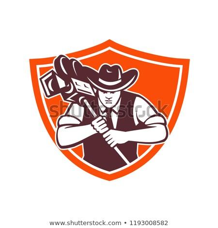 cowboy camera operator shield stock photo © patrimonio