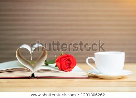 красную · розу · книга · любви · закрывается · красоту · зеленый - Сток-фото © stoonn