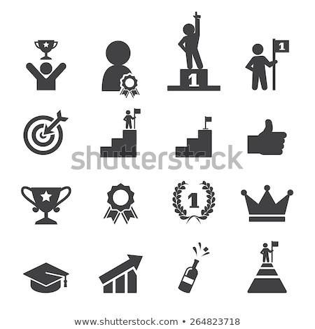 Homem escada sucesso ícone vetor projeto Foto stock © blaskorizov