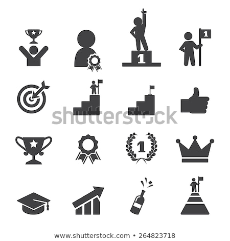 Adam merdiven başarı ikon vektör dizayn Stok fotoğraf © blaskorizov