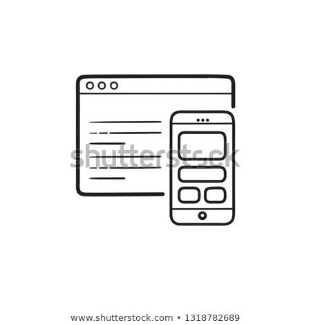 Okostelefon kódolás weboldal kézzel rajzolt skicc firka Stock fotó © RAStudio