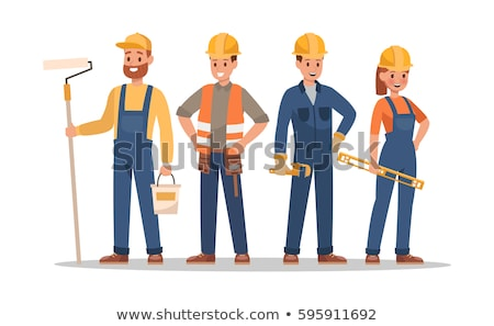 Construction female and male worker character vector design. Animate personage. Fun cartoon person.  Stock photo © bonnie_cocos