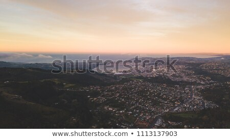 Panoramic bird's eye arial view from drone the coastline of a developed city Odesa, Ukraine. Copy sp Stock photo © artjazz