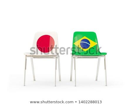 Zdjęcia stock: Dwa · krzesła · flagi · Brazylia · Japonia · odizolowany