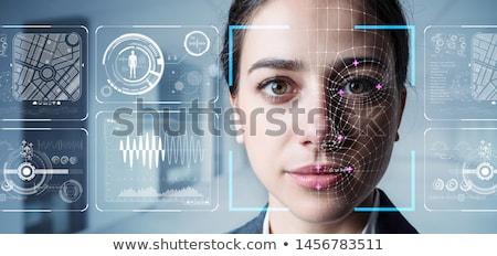 Segurança reconhecimento computador homem azul Foto stock © ra2studio