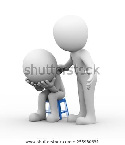 3d man help support to frustrated sad person Stock photo © ribah