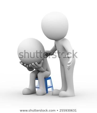 o · homem · 3d · ajudar · deprimido · triste · pessoa · 3D - foto stock © ribah
