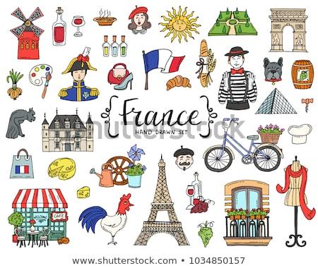 Stockfoto: Schets · ingesteld · frans · beret · Eiffeltoren · fles
