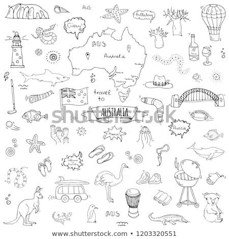 Ausztrália ikon szett eps 10 térkép sivatag Stock fotó © netkov1
