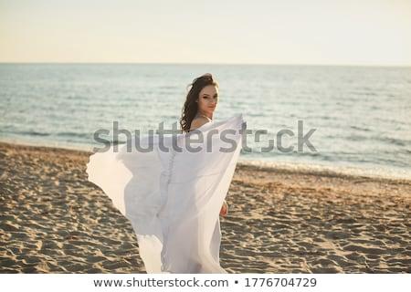женщину · пляж · закат · весны · сезон · трава - Сток-фото © deandrobot
