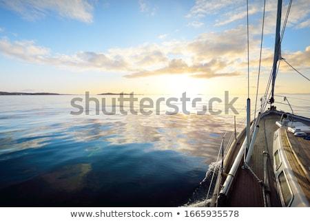 Wygaśnięcia morza jacht horyzoncie grunge ilustracja Zdjęcia stock © biv