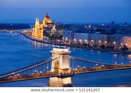 Budapest Danube river waterfront Chain bridge and Parliament bui stock photo © xbrchx
